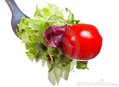 Fork with greens and tomato