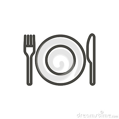 Free Fork Knife And Plate Icon Vector. Line Eat Symbol Isolated. Tren Royalty Free Stock Photography - 117465437