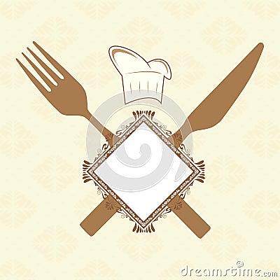 Fork, knife and banner