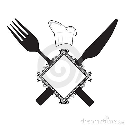 fork knife and chef hat stock image image 8453151. Black Bedroom Furniture Sets. Home Design Ideas