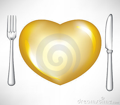 Fork and knife with golden heart