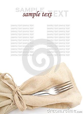 Fork, knife, napkin on white background