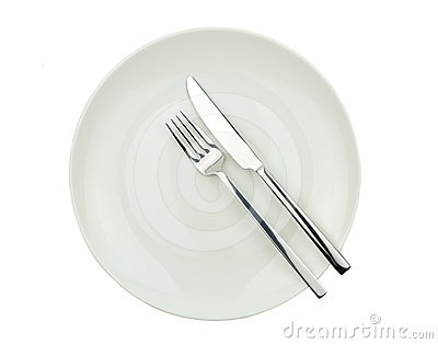 Fork, knife,  and plate isolated on white