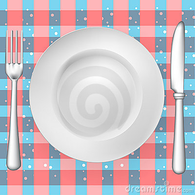 Fork, knife and plate on pattern