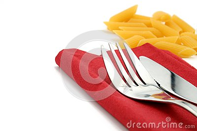 Fork and knife on red napkin