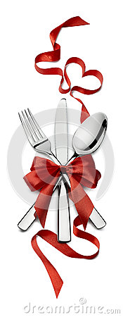 Free Fork Knife Spoon Vertical Red Ribbon Heart Design Element Valent Royalty Free Stock Image - 65223496