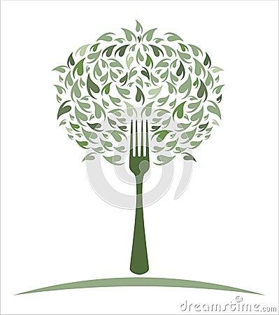 Fork with Lettuce/Leaves