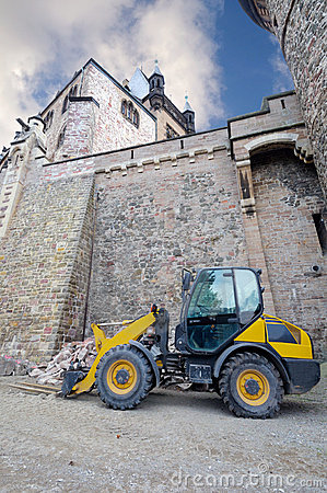 Fork lift truck below Wernigerode Casle, Germany