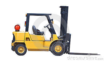 Fork lift truck isolated on white