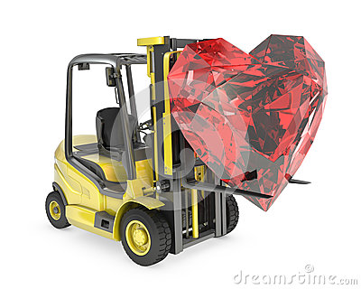Fork lift truck lifts heart cut ruby
