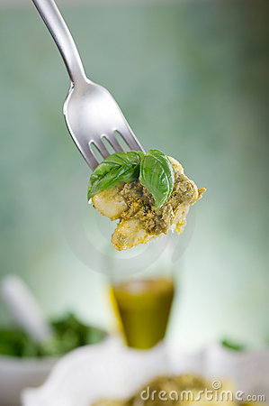 Fork with pesto gnocchi