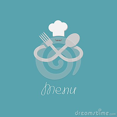 Fork spoon infinity sign chef hat and mustache menu - Infinity chefs opiniones ...