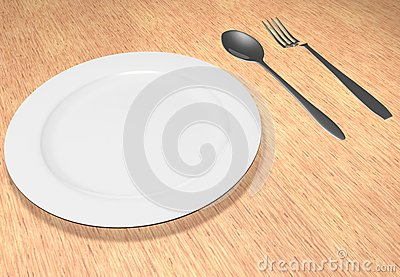 The fork and spoon lie near a plate