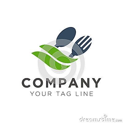 Fork and spoon restaurant logo design with green leaf Vector Illustration