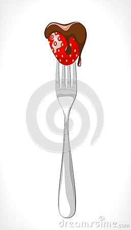 Fork with strawberry