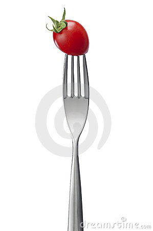 A fork with tomato