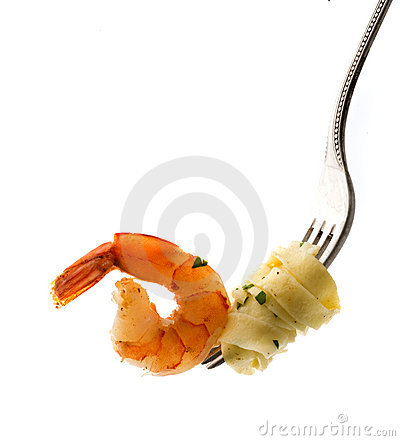 Free Fork With Pasta And Shrimp Royalty Free Stock Photo - 5472505