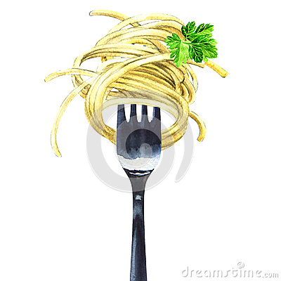 Free Fork With Spaghetti, Noodles, Pasta, Green Parsley, Isolated, Watercolor Illustration Stock Images - 85839934