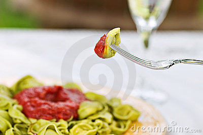 Forkful of spinach tortellini