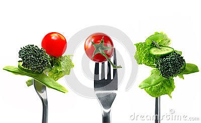Forkfuls of Healthy Food Over White