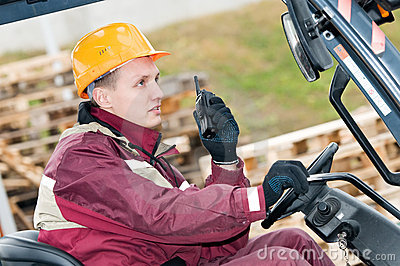 Forklift driver with radio