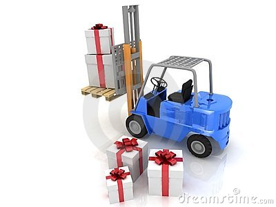Forklift with gifts boxes