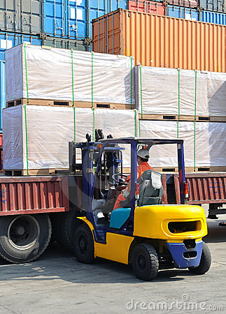 A forklift is loaded cargo