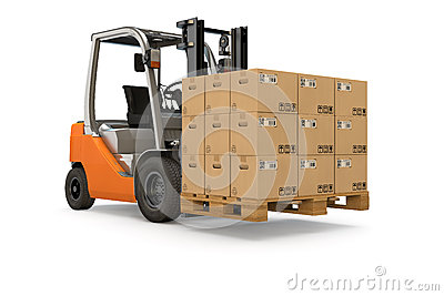 Forklift with pallet of packages
