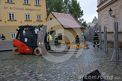 Forklift in prague centre Editorial Photography