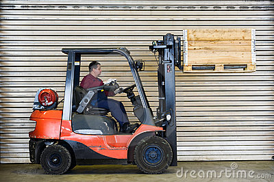 Forklift transport a wooden box