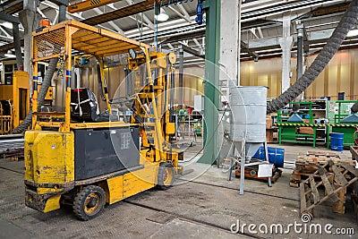 Forklift in workshop