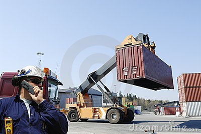 Forklifts and workers in action