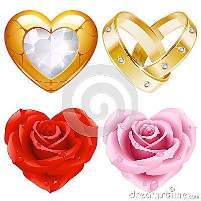 Forma da jóia e de rosas douradas do jogo 4. do coração