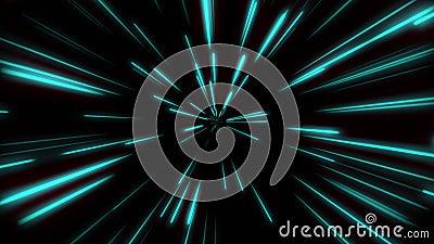 Forma de línea Neon Blue Light Streets simples Gráfico de movimiento de zoom de velocidad futurista en línea Encendido del haz de stock de ilustración