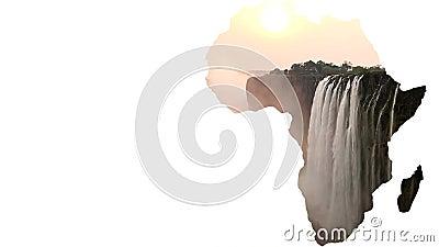 Forma do continente de África com Victoria Falls e espaço branco ilustração stock