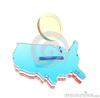 Forma do país dos EUA como um moneybox com uma moeda dourada