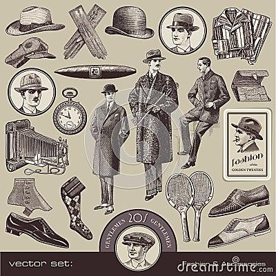 Forma e acessórios dos cavalheiros