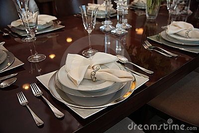 Formal dinner place settings