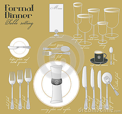 Formal dinner table setting stock photo image 54629489 - Fine dining table layout ...