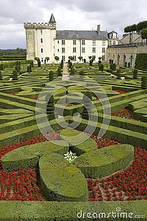 Formal gardens at chateau de villandry, loire valley, france
