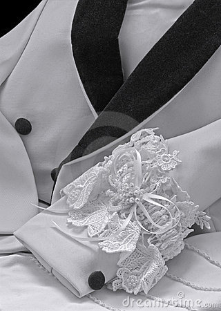 Formalwear tux jacket black white wedding garter
