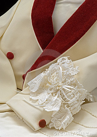 Formalwear tuxedo jacket with wedding garter