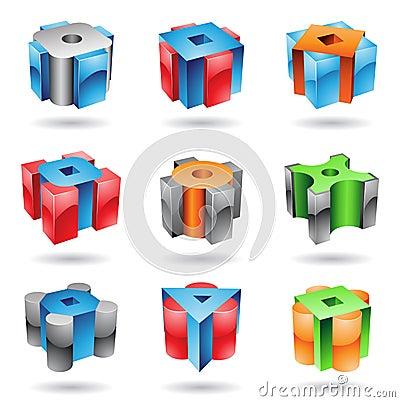Formas lustrosas metálicas cúbicas e cilíndricas