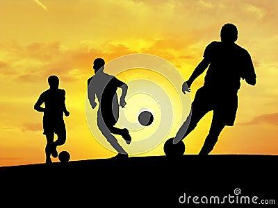 Formation du football (coucher du soleil)
