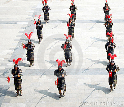 A Formation of Marching Soldiers Editorial Stock Photo