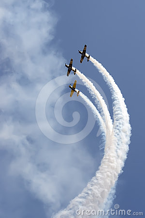 Formation of YAK 52 airplanes at Romanian Air Show Editorial Image