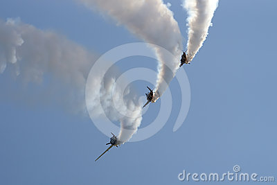 Formation of YAK 52 airplanes at Romanian Air Show Editorial Stock Photo