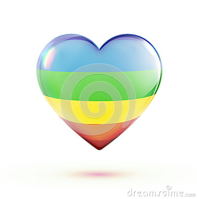 Forme multicolore de coeur