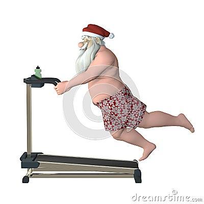 Forme physique de Santa - glissade de tapis roulant