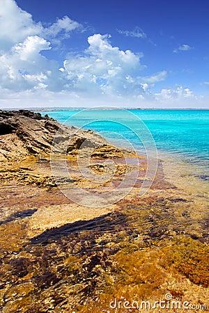 Formentera island Illetas rocky shore turquoise